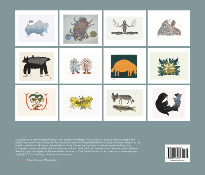 2021 Inuit Art Calendar by Dorset Fine Arts - back