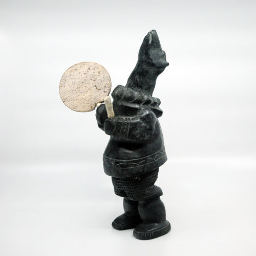Inuit Sculpture - Black Bear Drummer