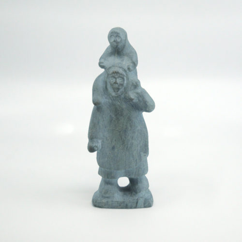 Inuit Sculpture - Mother With Child On Her Shoulder - Basil Aptanik