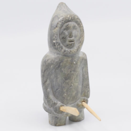 Standing Man With Snow Knife and Stick - Inuit Art Sculpture
