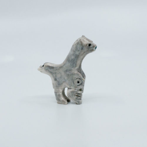 Grey Tupilak with 3 faces - reindeer antler