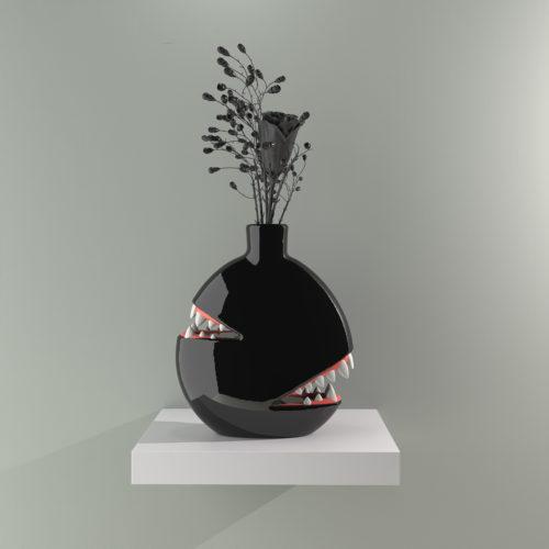 Biting Vase by Josh Divine - Black