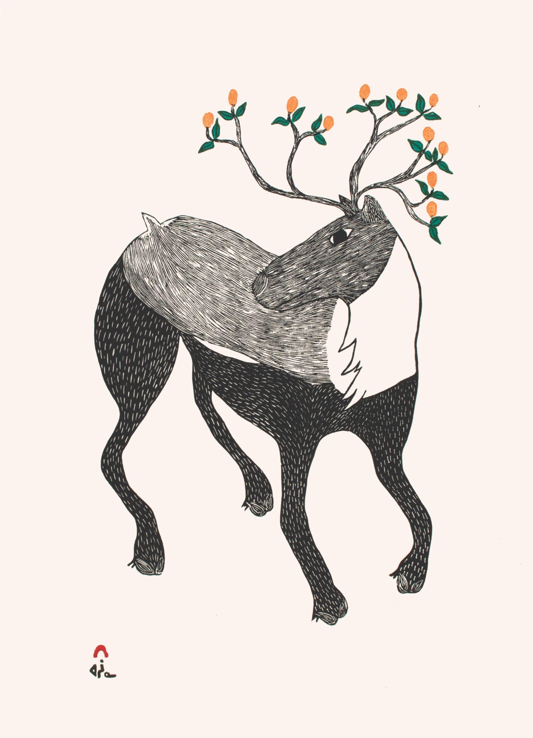 Caribou in Bloom by Ningiukulu Teevee