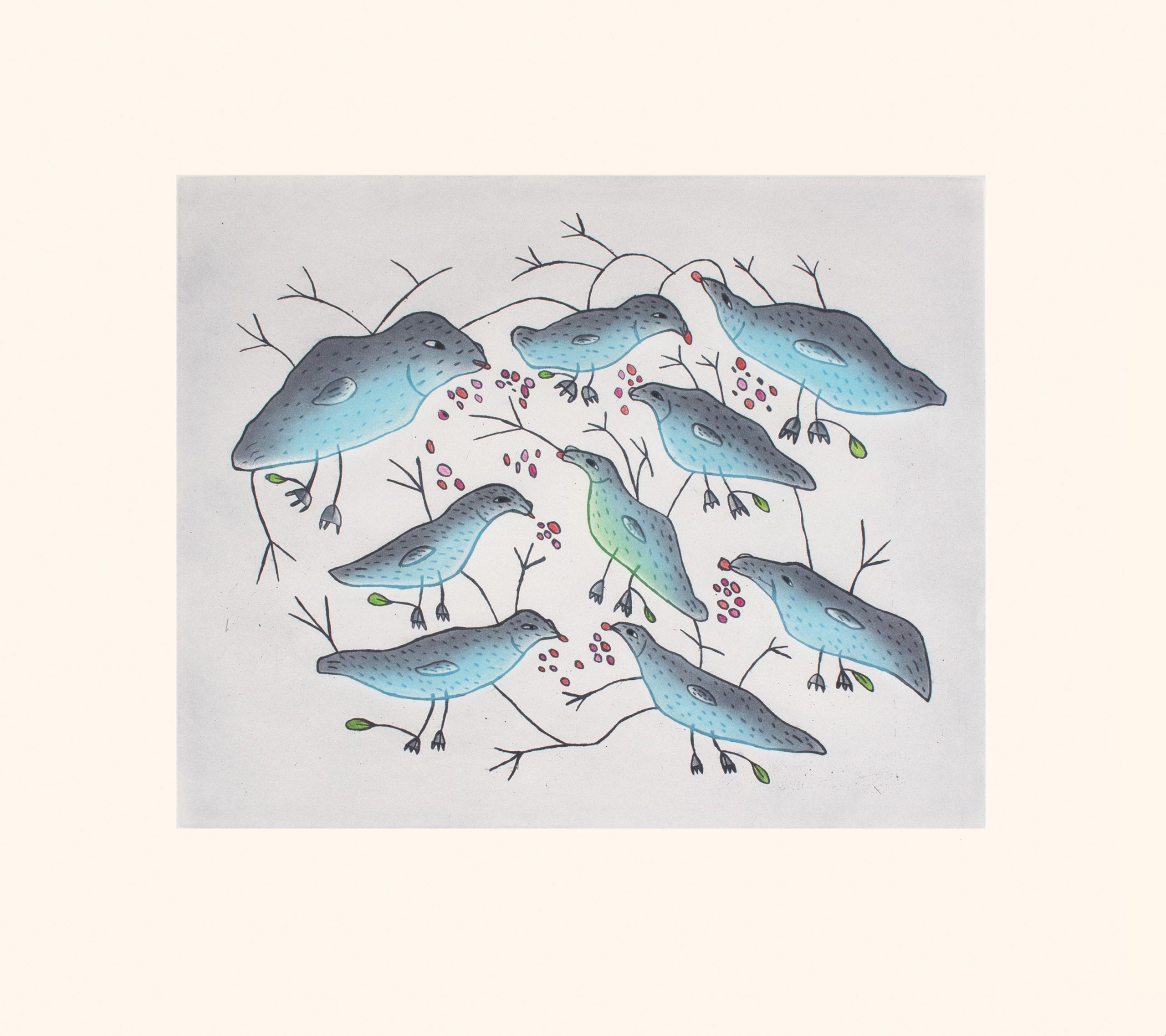 Birds Eating Berries - Malaija Pootoogook