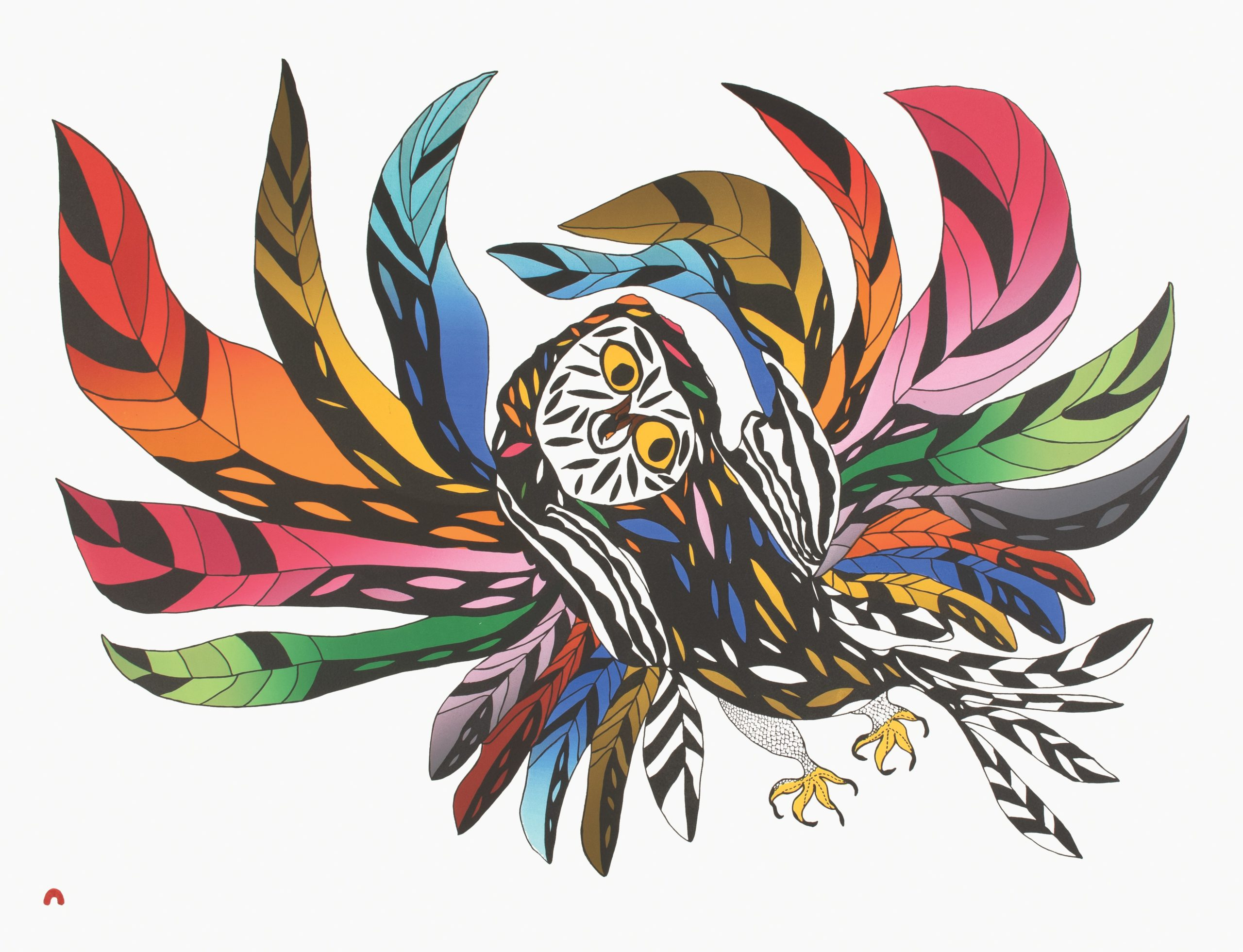 Festive Owl by Ooloosie Saila - 2021 Cape Dorset Annual Print Collection
